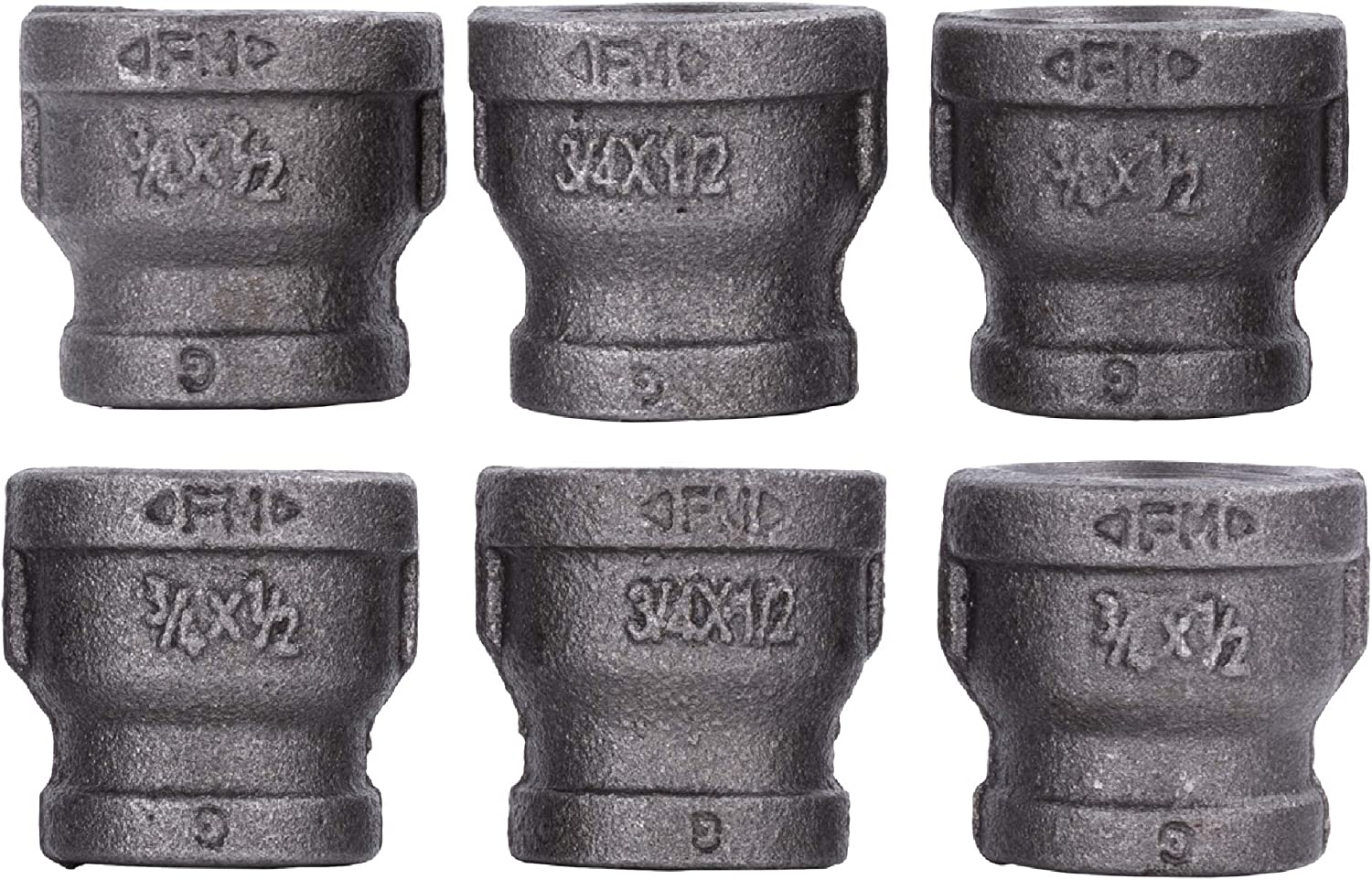 "3/4"" x 1/2"" Inch Reducing Coupling Industrial Malleable Cast Iron Pipe Fitting 6 Pack by Pipe Decor, Pipe Components for Building Tables, Chairs, Shelving, and Custom Furniture, Six Pack Couplings"