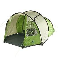 10T Mandiga 4 Green - Tunnelzelt für 4 Personen, Campingzelt mit großer Schlafkabine, wasserdichtes Familienzelt mit 5000mm, Zelt mit 2 Eingängen und 2 Fenstern, Festivalzelt mit Dauerbelüftung, 4 Mann Zelt mit Tragetasche, Zeltheringe und Zeltgestänge