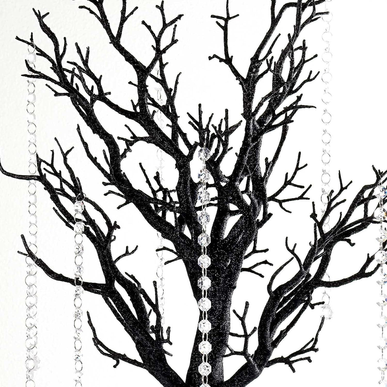 BalsaCircle 30-Inch Tall Black Glittered Manzanita Tree with Acrylic Garlands - Wedding Home Centerpieces Decorations DIY Supplies