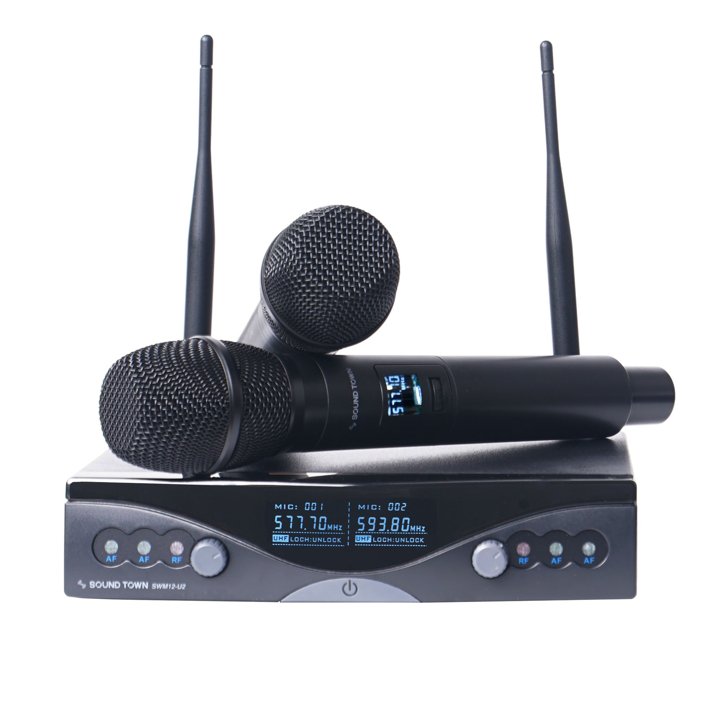 Sound Town Professional Dual-Channel UHF Wireless Microphone System with 2 Handheld Mics, for Church, Business Meeting, Outdoor Wedding and Karaoke (SWM12-U2HH)