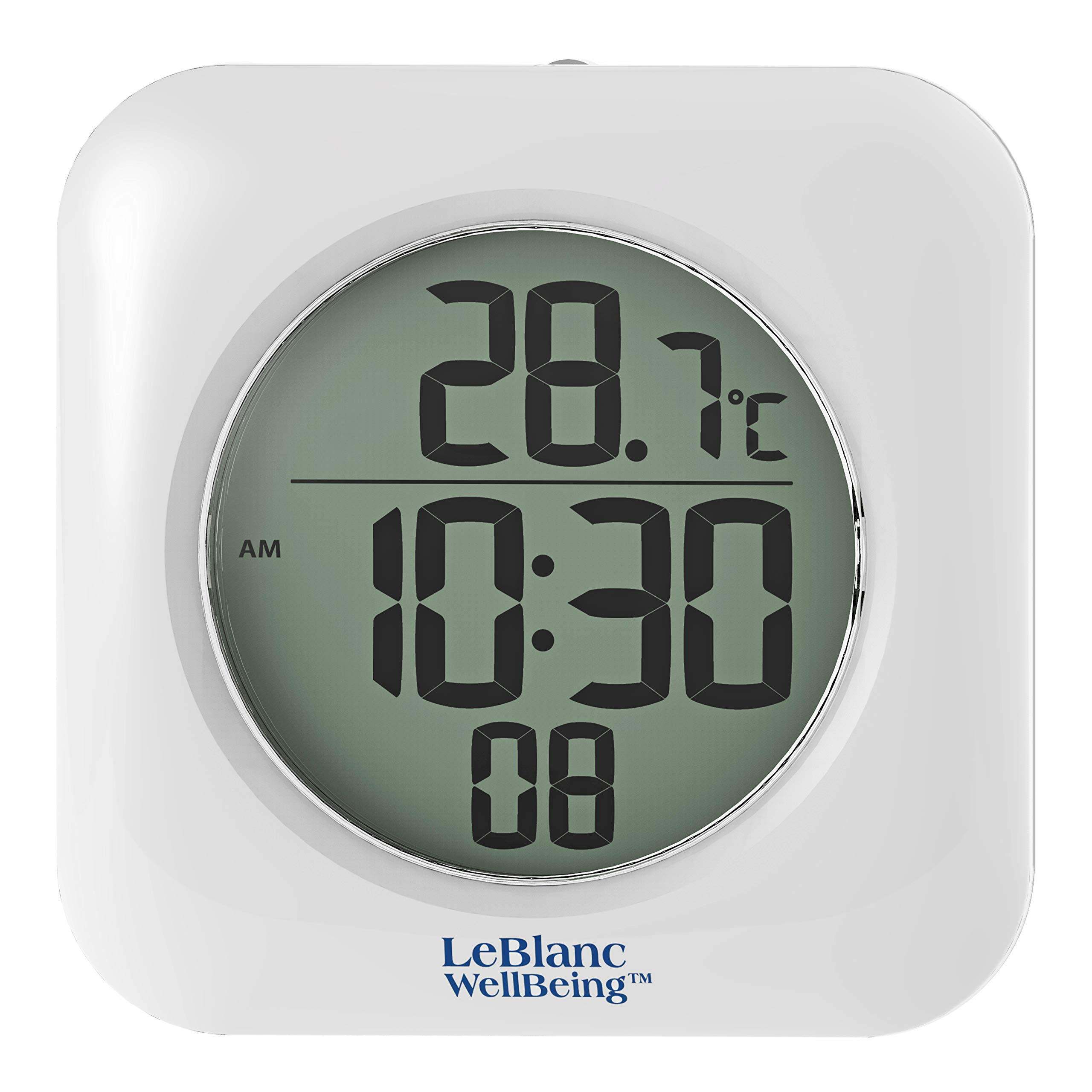 LeBlanc WellBeing Waterproof Bathroom Shower Clock Mounts with 4 Suction Cups, Hanging Hole, or Shelf Bracket. Time 12/24 Hr and Indoor Temp. Great for RV, Camper, Boat, Gym, Hot Tub, Country Club by LeBlanc WellBeing
