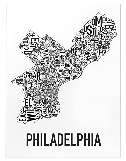 Philadelphia neighborhoods map art poster black