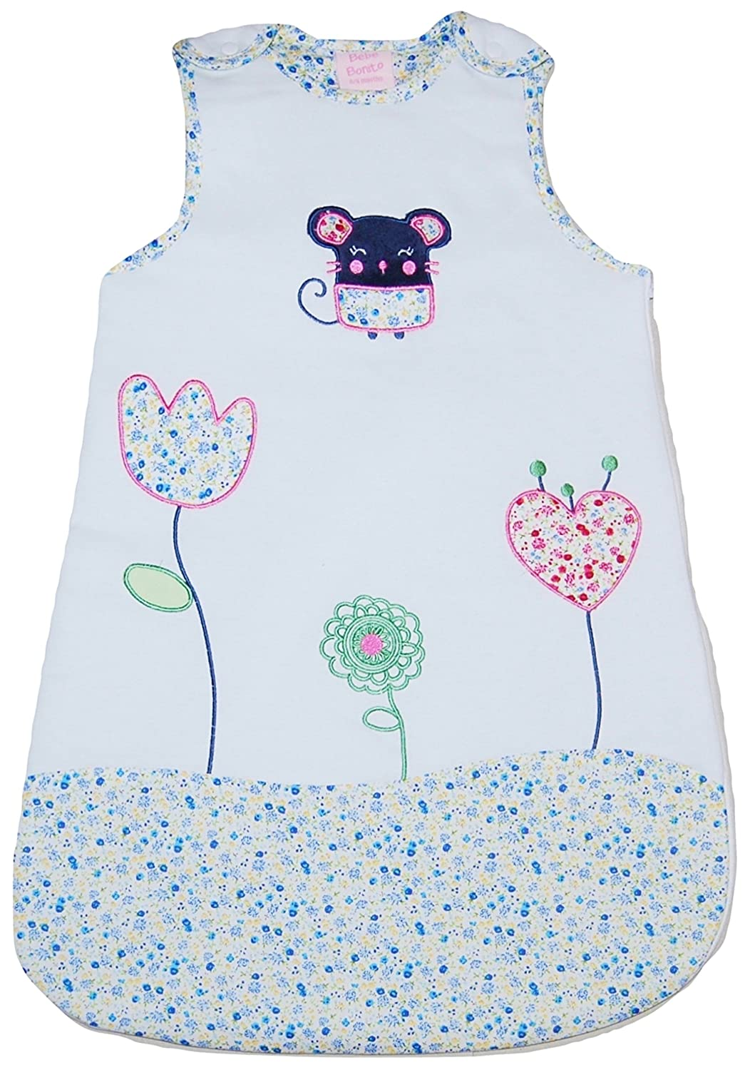 Bebe Bonito Baby Girl Boy Sleeping Bag Growbag White 2.0-2.5 Tog (0-6 Months) MGS Consultancy Ltd