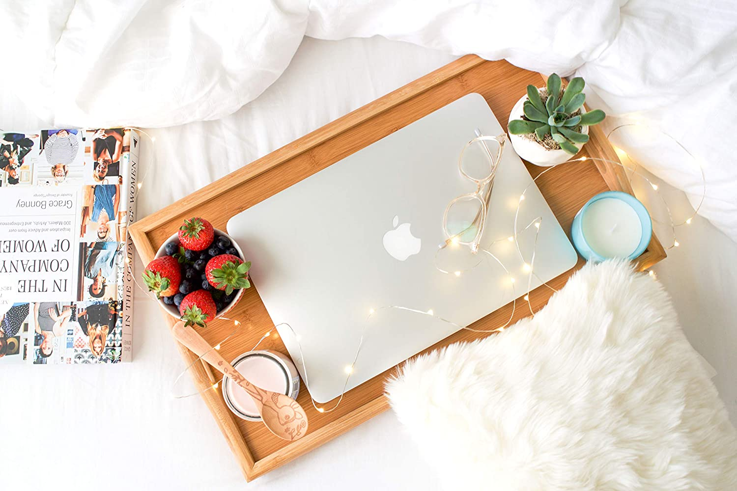 Lap Desk| 100/% Natural and Eco-Friendly Tray with Handles and Legs Bed Table Laptop Desk KOZY KITCHEN Foldable Breakfast Tray| Large Organic Bamboo Folding Serving Tray