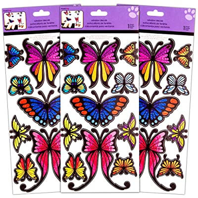 Butterfly Window Decals Set -- Over 30 Large Butterfly Window and Wall Decals, Repositional (Butterfly Room Decor): Toys & Games