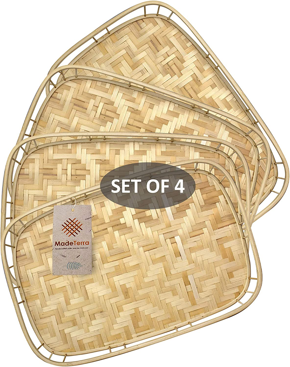 Set of 4 Pack Rectangular Bamboo Wicker Serving Trays with Handles, Handwoven Coffee Trays for Coffee, Breakfast, Bread, Food, Dish and Decorative Trays for Dining Table