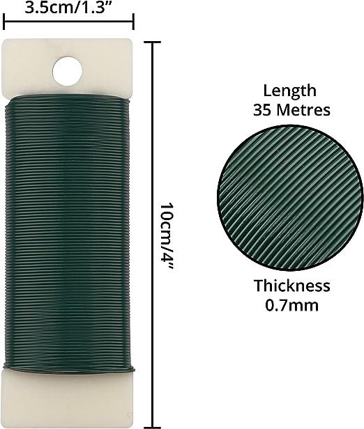 6pz Fai-da-Te- Filo Metallico Giardino - Filo Verde Giardinaggio da 35 Metri Belle Vous Filo di Ferro per Fioristi Lavori Floreali Fil di Ferro Modellabile da 0,7mm- Filo di Ferro per Bigiotteria