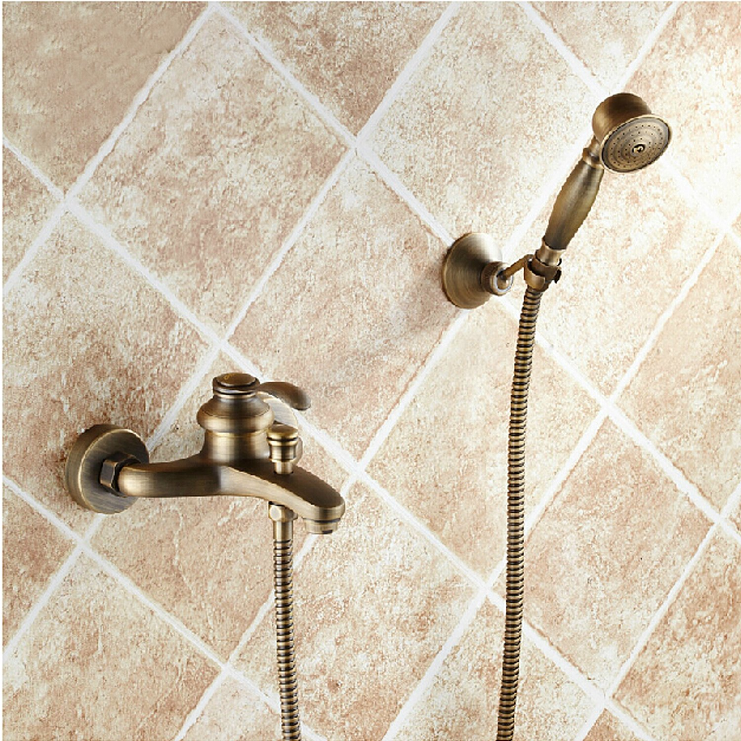 LightInTheBox Bathroom Wall Mounted Antique Brass Bathtub Faucet with Hand Shower Set cheap