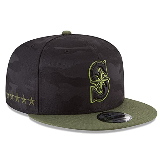 cheaper 4632d fe75e Amazon.com  New Era Authentic Seattle Mariners Memorial Day Salute to  Service 9Fifty Snapback Hat Cap One Size  Clothing