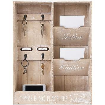 Elegante organizer da parete, lavagnetta in legno con portachiavi ...