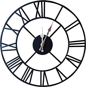 Klass Home Collection Stunning Silent Skeleton Indoor Garden Large Wall Clock Roman Numeral Open Face Metal Clock Round Iron Black 40 Cm Large Wall Clocks For Home Decor Amazon Co Uk Kitchen Home
