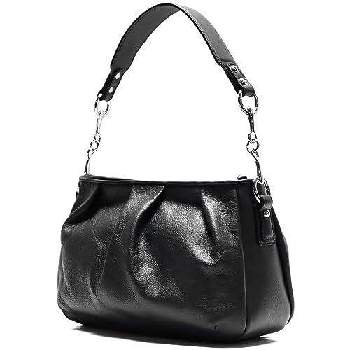 304e70523ad8 Amazon.com  Floto Firenze Hobo Shoulder Handbag in Soft Black Calfskin  Leather  Shoes