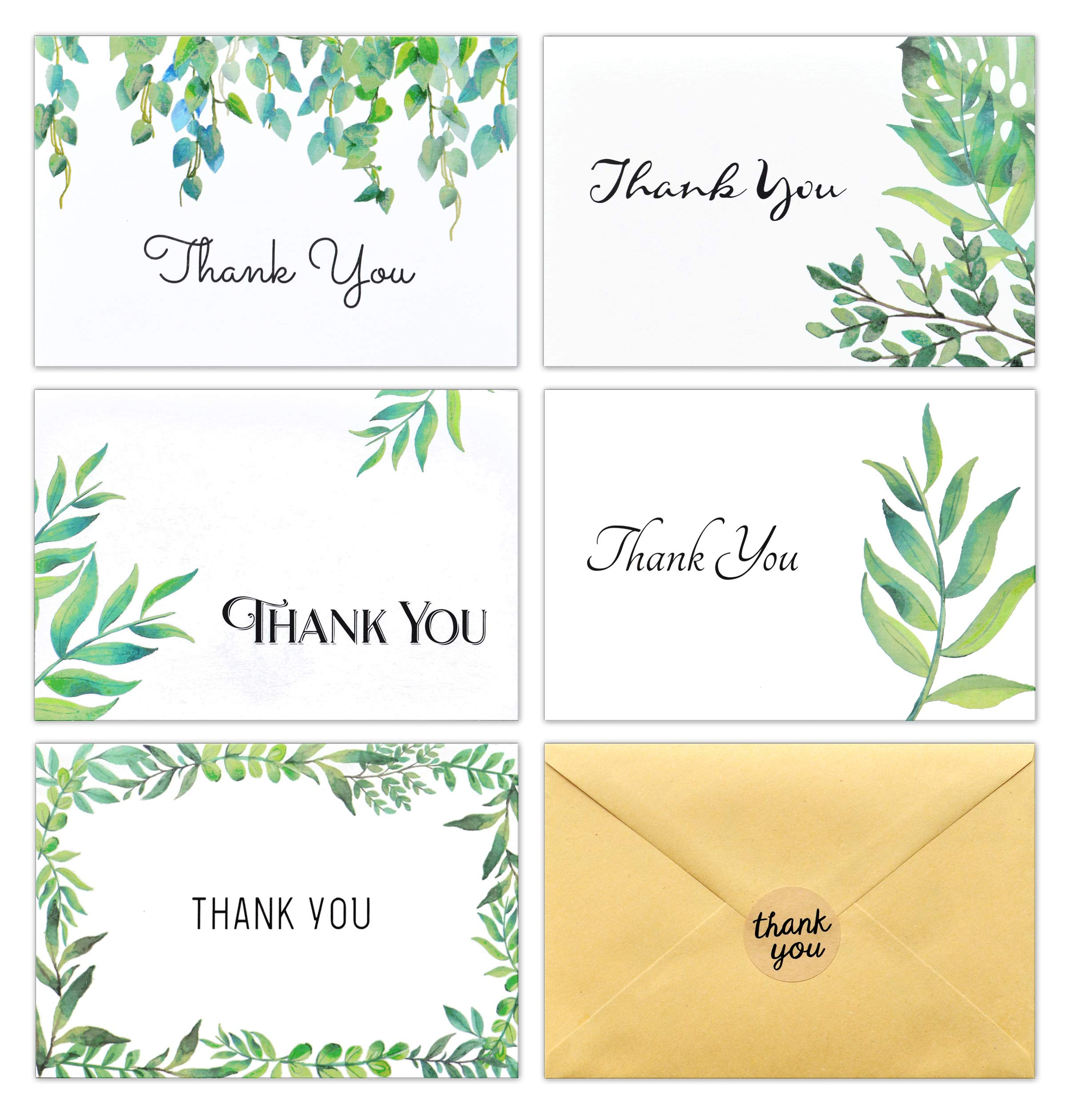 100 Thank You Cards with Envelopes and Stickers - White Kraft Paper Watercolor Floral, Greenery Bulk Notes for Gratitude - 5 Design Cards for Wedding, Formal, Baby Shower and All Occasions 4x6 Inch