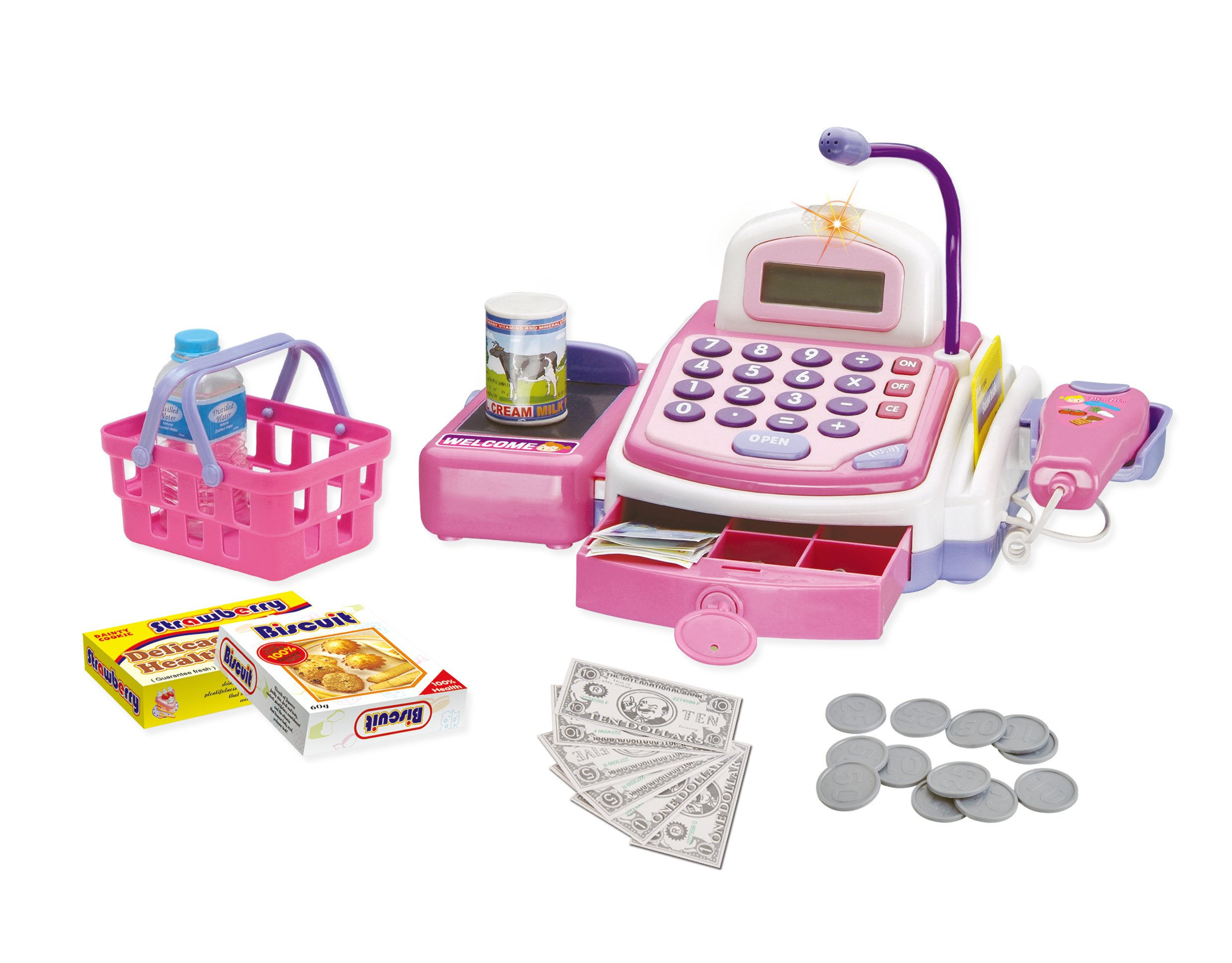 CifToys Cashier Toy Cash Register Playset | Pretend Play Set for Kids | Colorful Children's Supermarket Checkout Toy with Microphone & Sounds | Ideal Gift for Toddlers & Pre-Schoolers