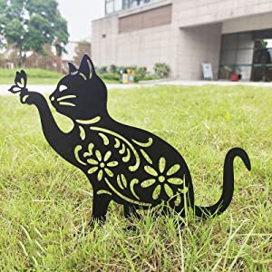Iron Garden Decoration Ornaments - 11'' Cat and Butterfly Wrought Iron Stakes Hollow Out Carved Yard Signs Metal Art Silhouettes Decor for Outdoor Patio Lawn Backyard Statue Gifts for Cat Lovers (1PC)