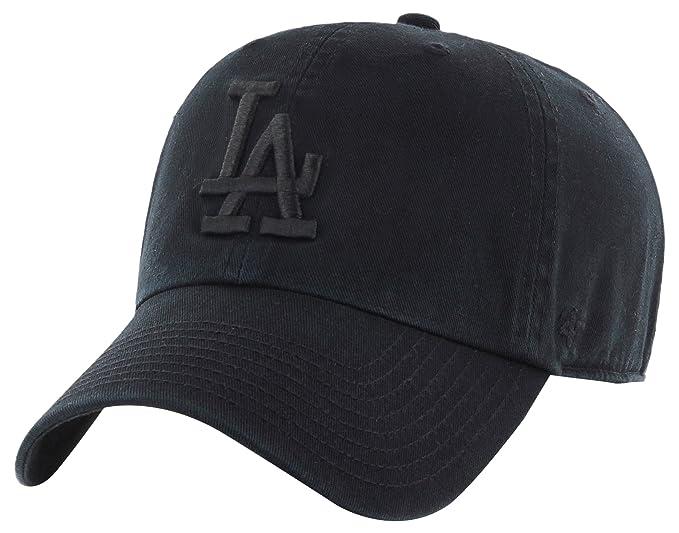 promo code 822ff a3860 france 47 brand los angeles dodgers clean up mlb strapback hat cap all black  black fe9c3