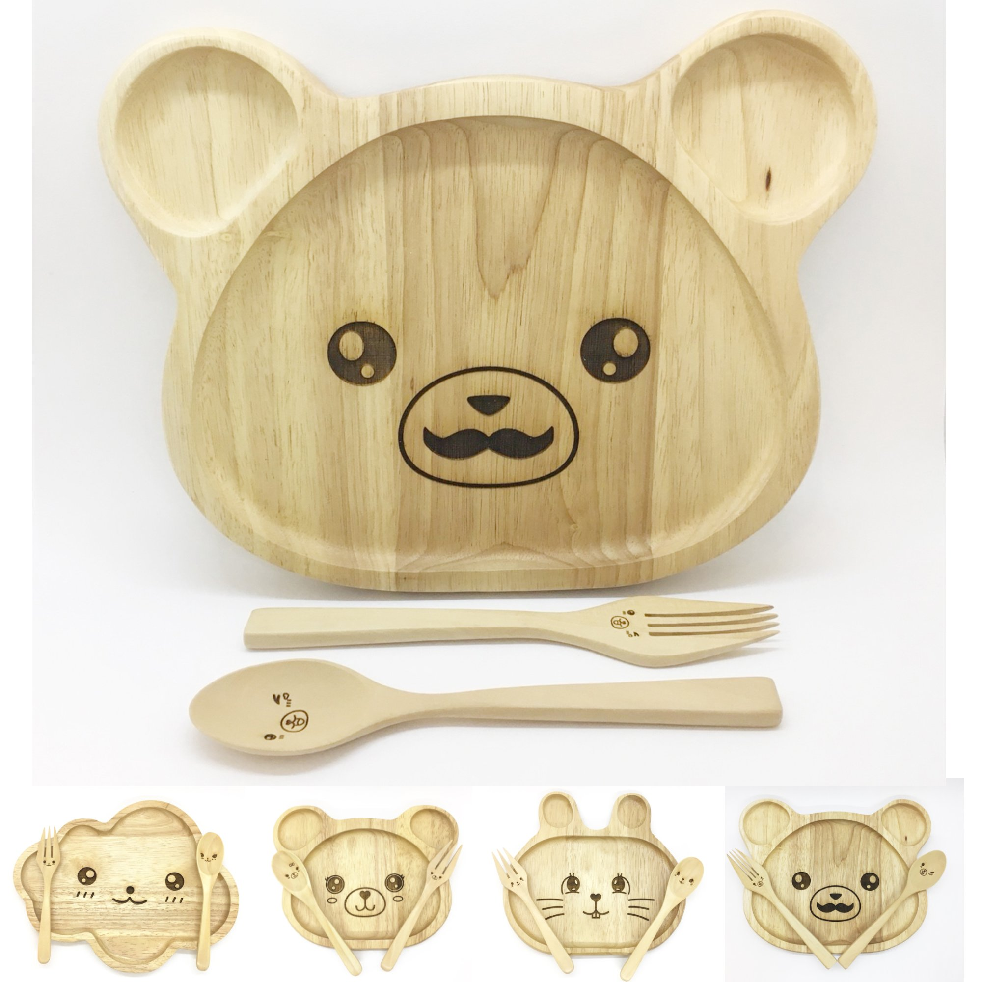 WitnyStore Kid Plate Fork Spoon Set Children Baby Rubber Wood Safe Dish Food Divided Bowl Cute Animals 3D Laser Toy (Big Bear, 9'')