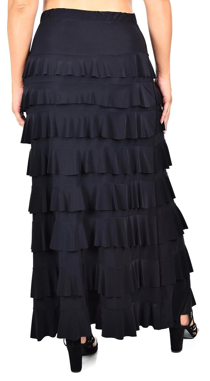 72b26b78071 Dare2BStylish Women Waterfall 8 Tiered Boho Layered Maxi Skirt