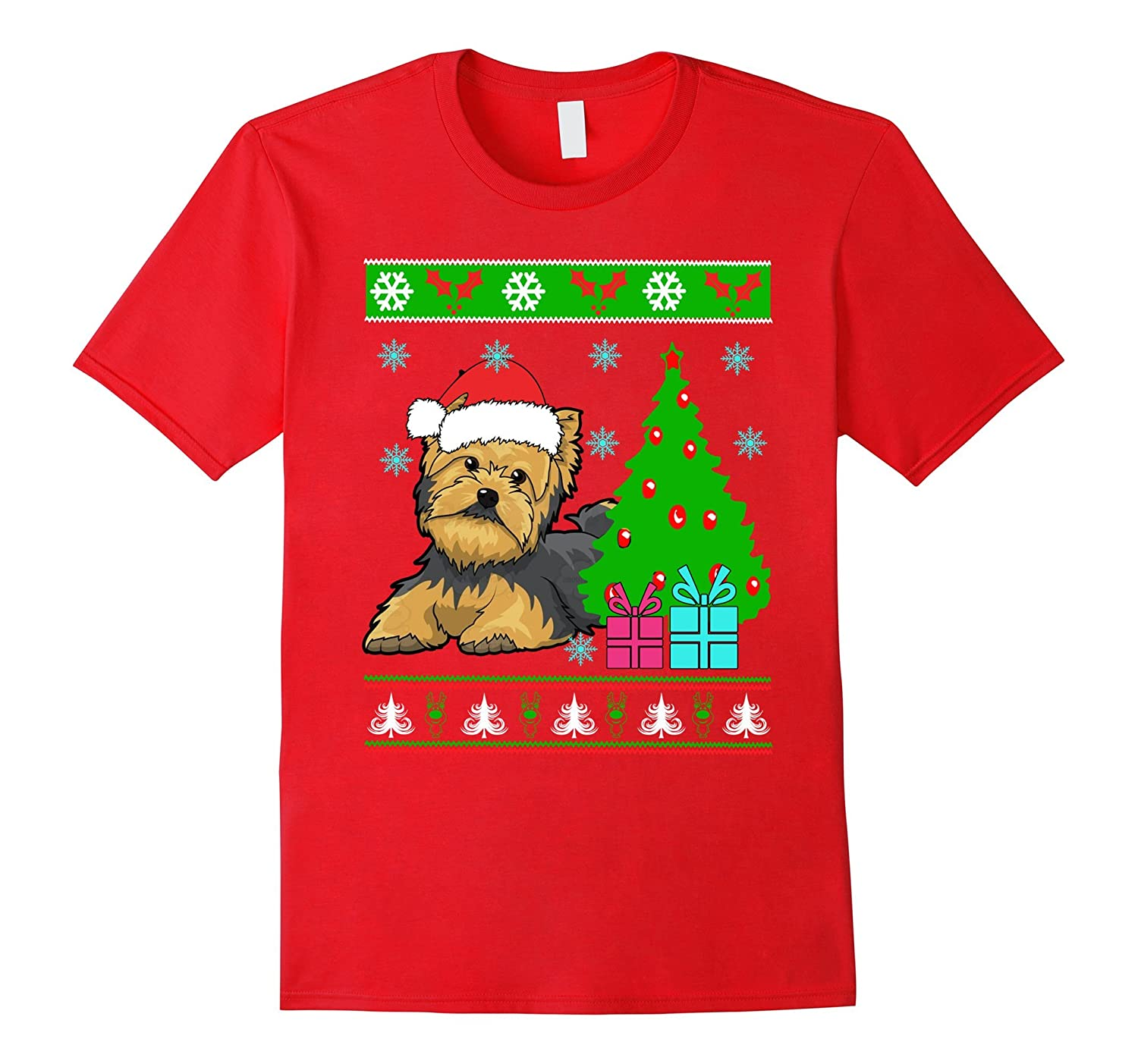 Yorkies Dog Ugly Christmas Nice Tshirt for Dog Lover-T-Shirt