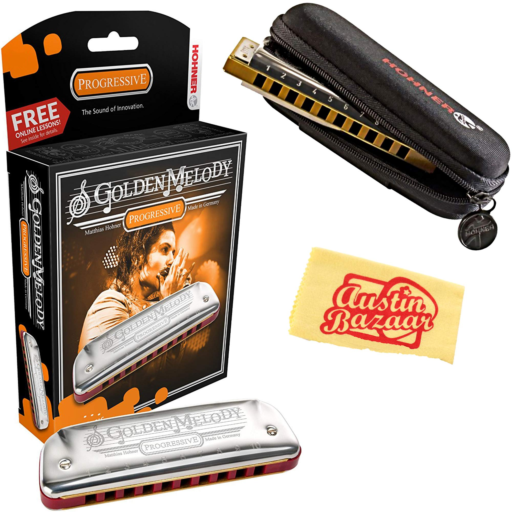 Hohner 542 Golden Melody Harmonica - Key of C Bundle with Carrying Case and Austin Bazaar Polishing Cloth