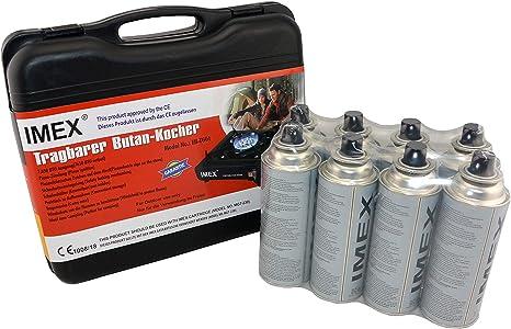 i-mex IMEX - Hornillo de gas para camping, tamaño pequeño, en maletín de transporte con 8 cartuchos de gas