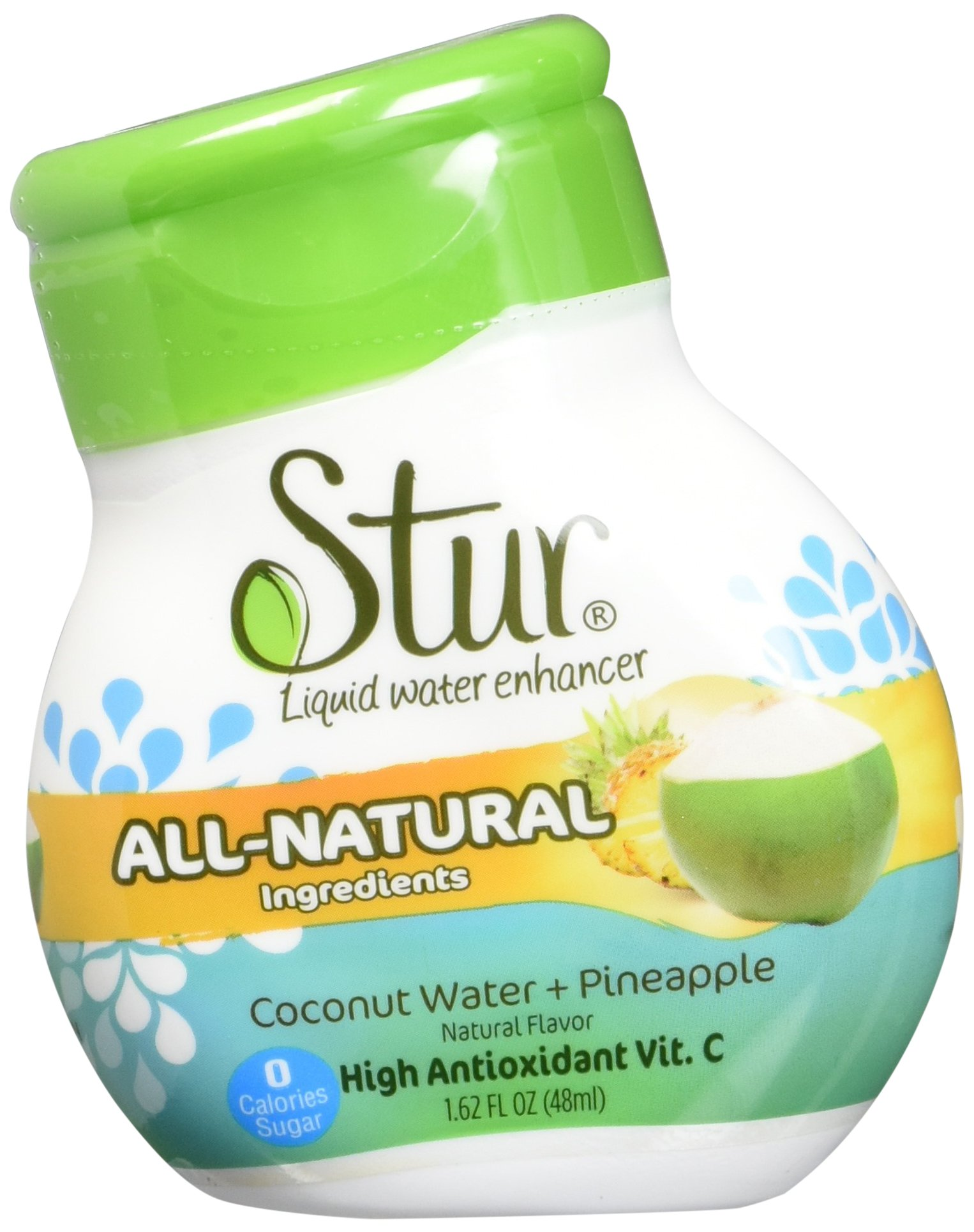 Stur Drinks - Coconut Pineapple Natural Water Enhancer Liquid Drink Mix Sugar Free Zero Calorie Vitamin C Stevia Make Your Own Fruit Infused Flavored Waters Makes 100 Drinks