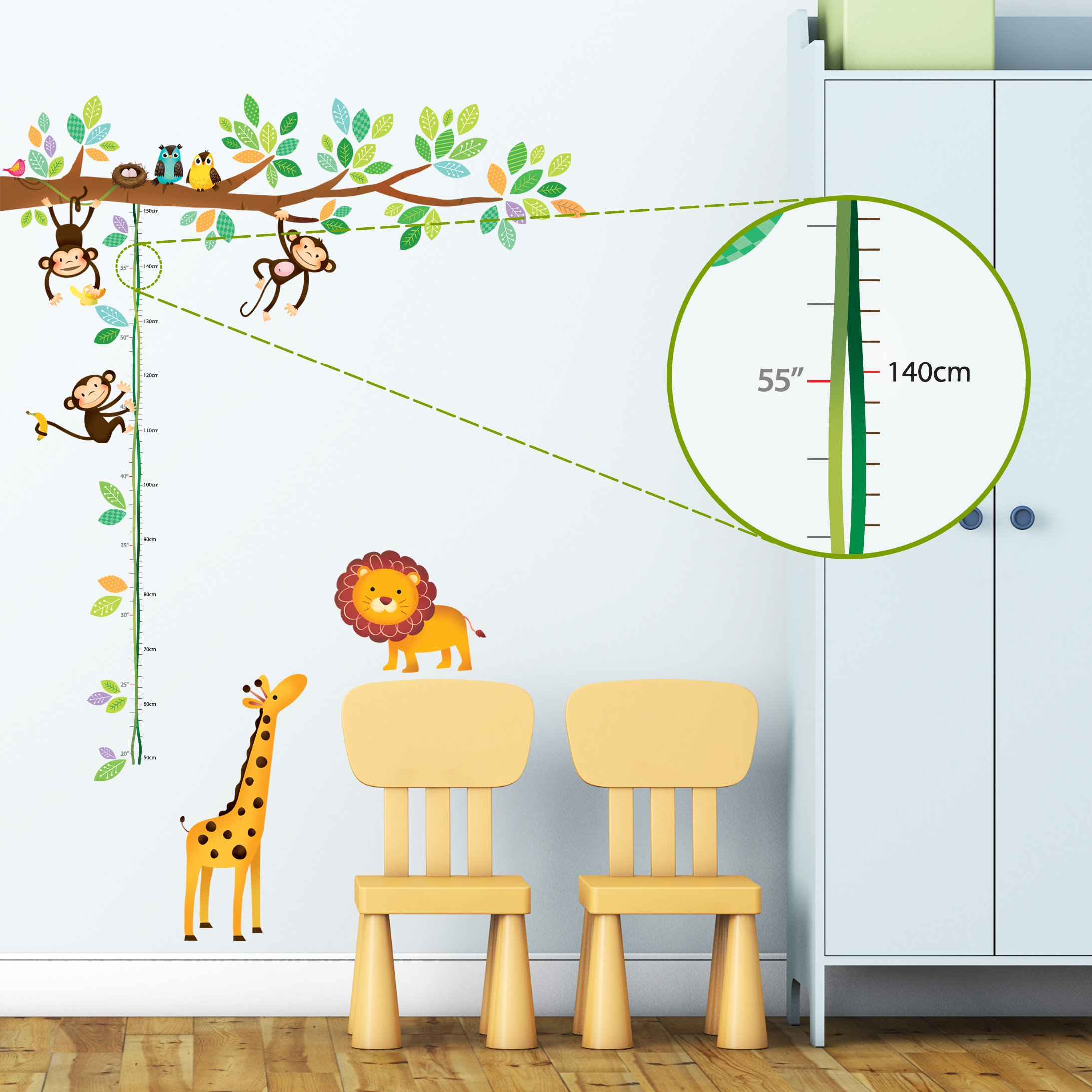 Amazon jungle fabric wall decal animal safari train 100 decowall dw 1402 little monkeys tree and animals height chart kids wall decals wall stickers amipublicfo Gallery