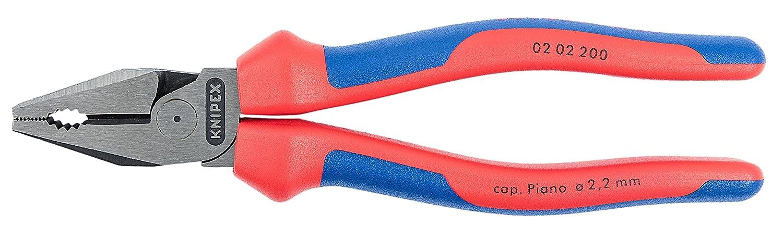 KNIPEX 02 02 200 Kraft-Kombizange schwarz atramentiert mit Mehrkomponenten-Hü llen 200 mm Knipex-Werk - C. Gustav Putsch KG