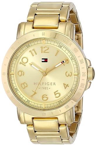 Tommy Hilfiger Liv - Reloj de cuarzo para mujer, con correa de acero inoxidable, color dorado: Amazon.es: Relojes