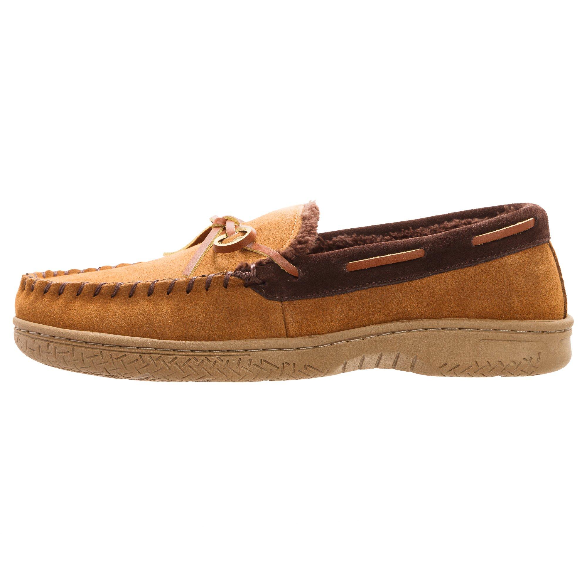 Heat Edge Mens Memory Foam Suede Slip on Indoor/Outdoor Moccasin Slipper Shoe (11, Tan) by Heat Edge (Image #4)