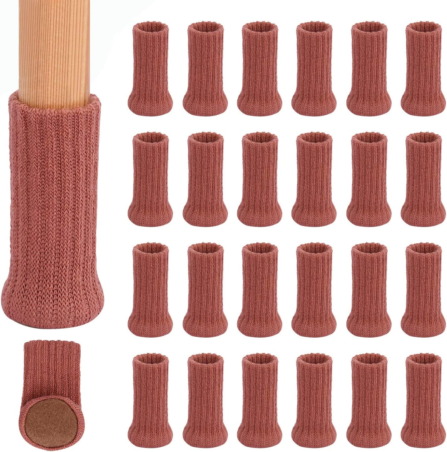 """24PCS Chair Leg Socks High Elastic Furniture Pads Non-Slip Chair Leg Feet Socks Covers Furniture Caps Set, Fit Furniture Feet Girth from 3"""" to 5"""",Knitted Furniture Cups Floor Protector, Brick Red"""