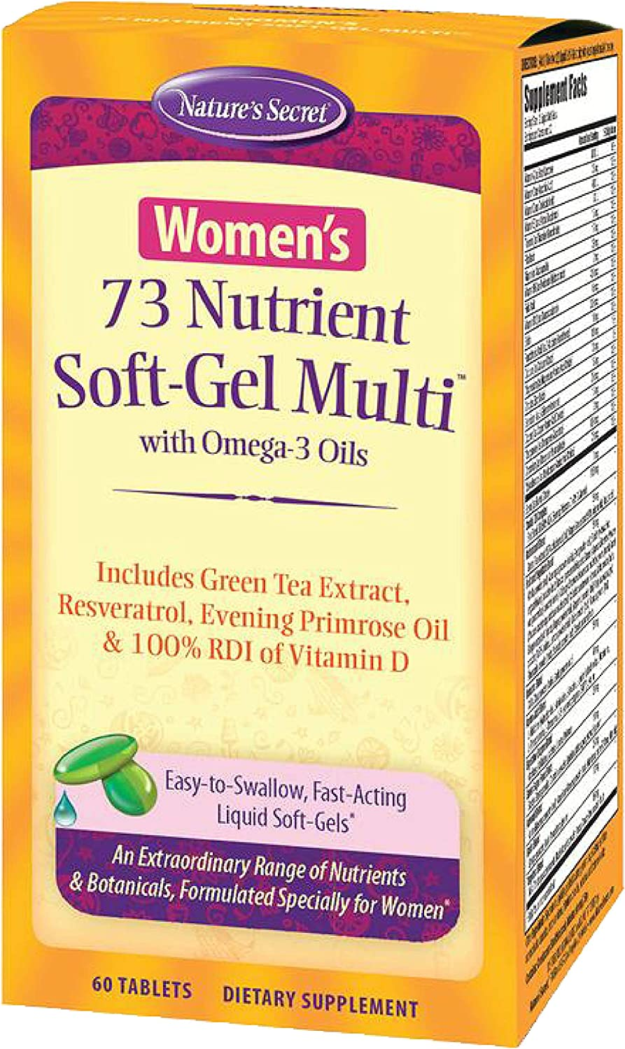 Nature's Secret Women's 73 Nutrient Multivitamin - Daily Essential Vitamins, Minerals, Antioxidants, Enzymes & Super Food Blend Supports Women's Health, Wellness & Immune System - 60 Liquid Softgels
