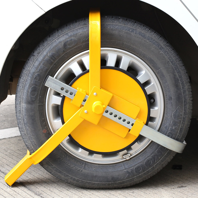 FIXKIT Bloqueo de Rueda Bloqueo para Neumático Bloqueo Ajustable y Antirrobo de Alta Seguridad para Ruedas de 13 a 17 Pulgada con 3 Llaves Color ...
