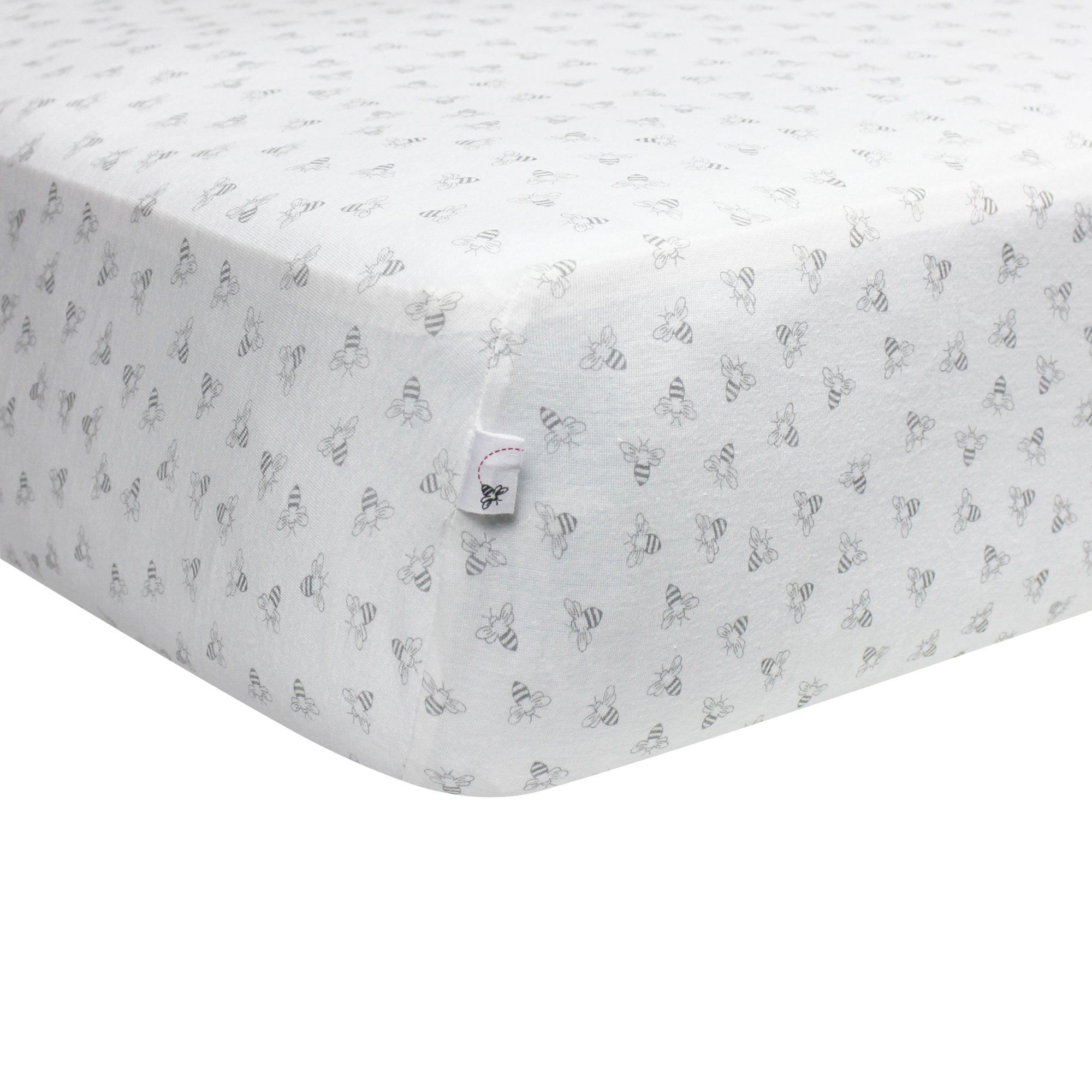 Burt's Bees Baby - Fitted Crib Sheet, Honeybee Print, 100% Organic Cotton Crib Sheet for Standard Crib and Toddler Mattresses (Heather Grey) by Burt's Bees Baby (Image #2)