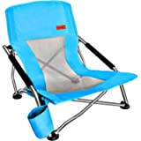Nice C Low Beach Camping Folding Chair, Ultralight Backpacking Chair with Cup Holder & Carry Bag Compact & Heavy Duty…