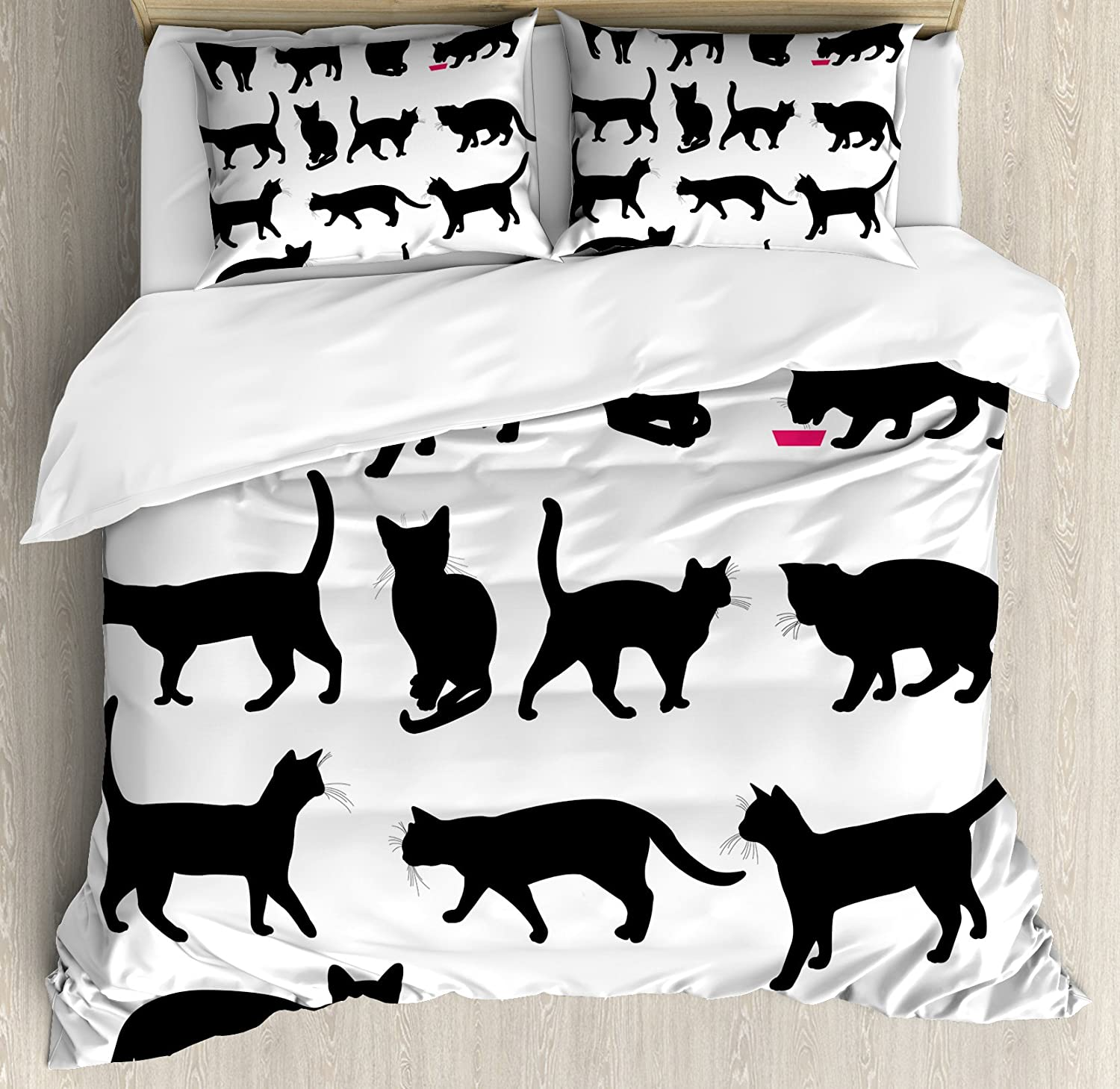 Ambesonne Cat Duvet Cover Set, Black Cat Silhouettes in Different Poses Domestic Pets Kitty Paws Tail and Whiskers, Decorative 3 Piece Bedding Set with 2 Pillow Shams, Queen Size, White Black
