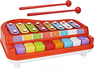 2 In 1 Xylophone for Kids, For your Mini Musician / Piano / Casio Musical Toy, Bright Multi-Colored Keys, Instrument for Babies, Toddlers and Preschoolers, With  Music Cards Songbook