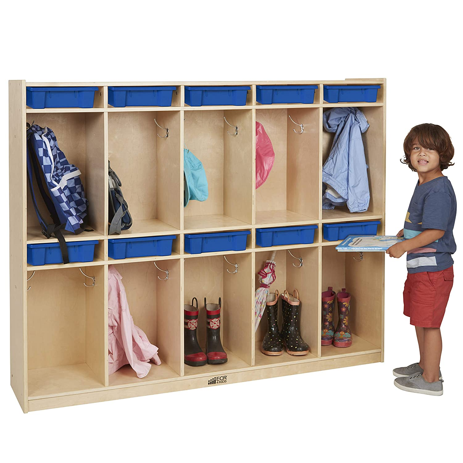 Angeles Value Line Toddler 5-Section Locker Multi Kids Storage Shelves Coat Rack with 5 Cubbies Classroom Organizer for Daycare//Montessori//Playroom