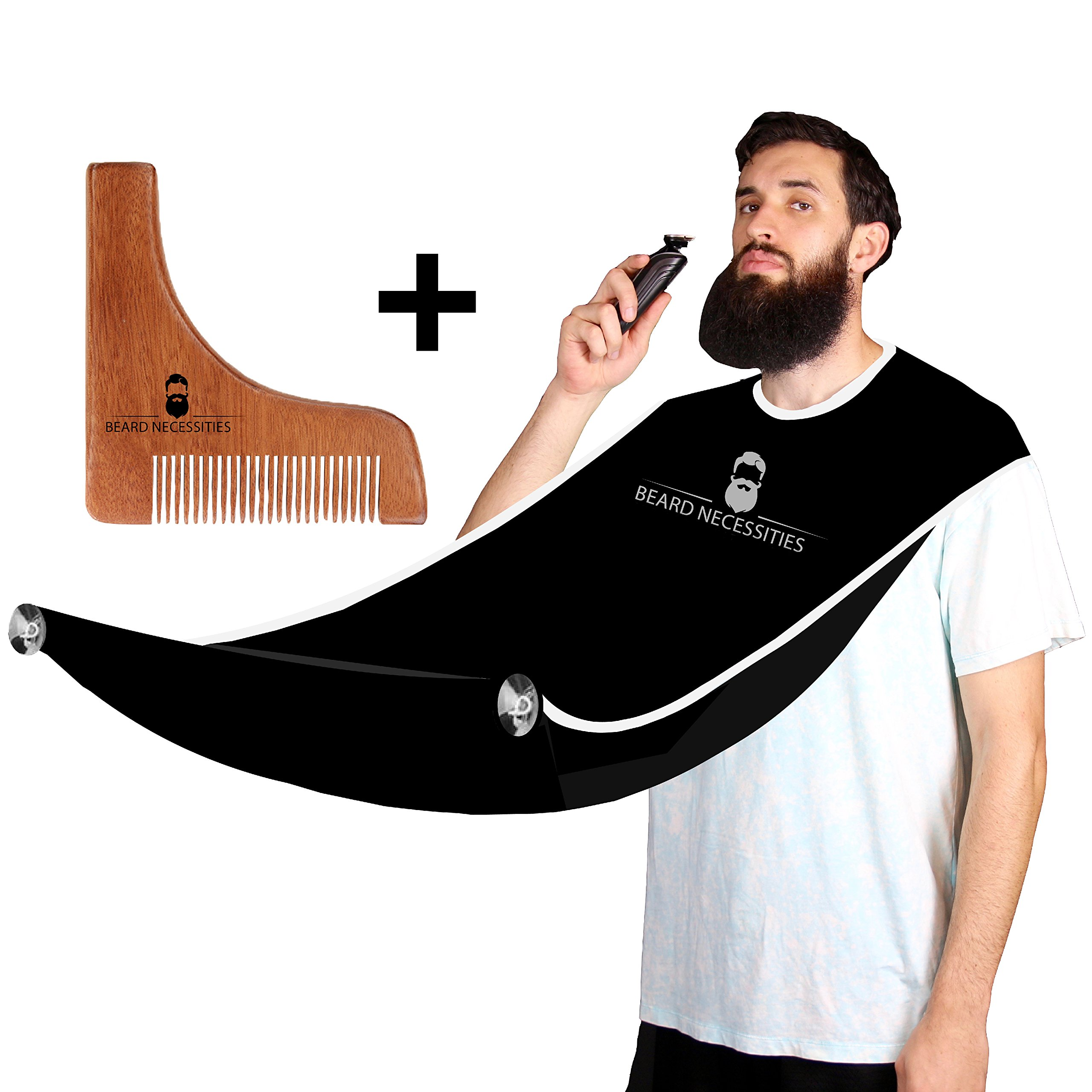 Beard Shaving Bib + Shaping Comb Kit by Beard Necessities Adjustable Apron - Best To Use With Trimmer For Catching Mens Facial Hair. Grooming Care Set For Men Includes Bonus Tool. Shave Better Today!
