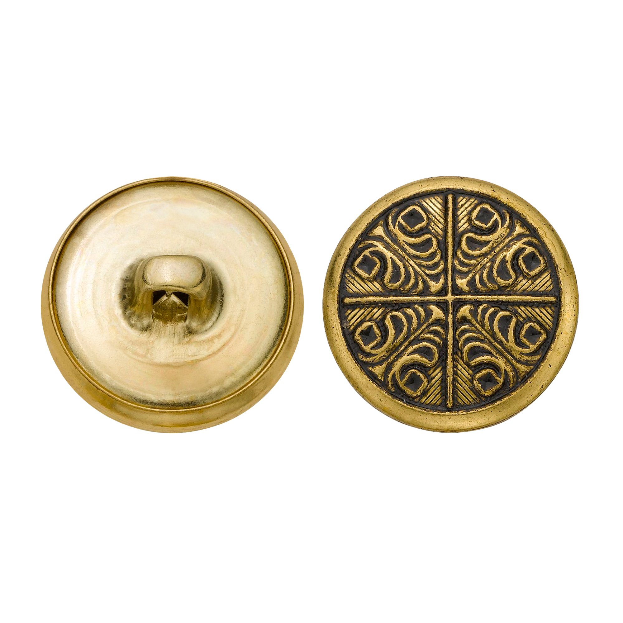 C&C Metal Products 5340 Modern Metal Button, Size 30 Ligne, Antique Gold, 36-Pack