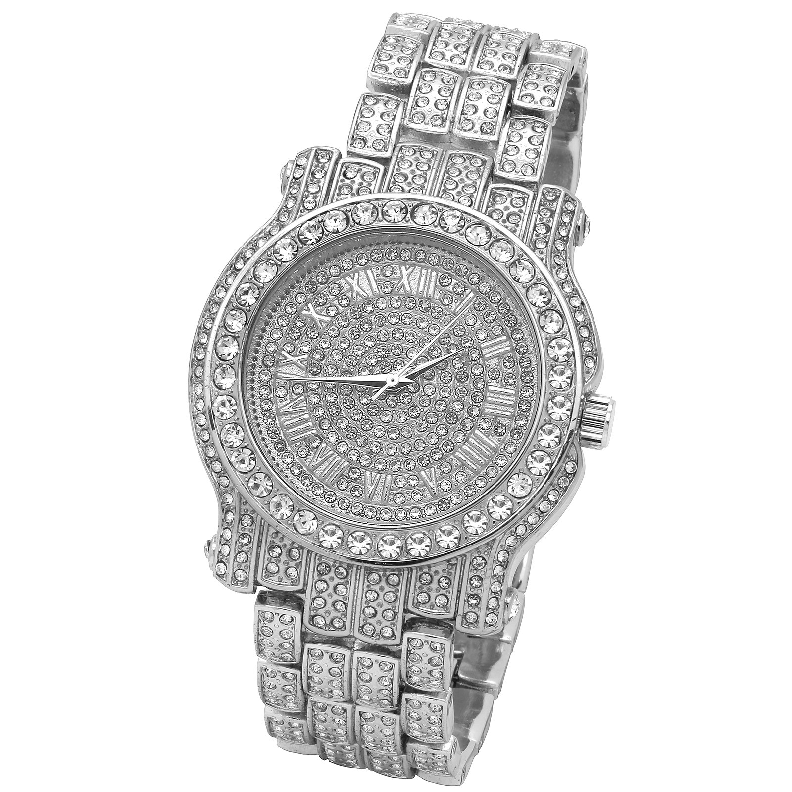 Iced Out Pave Silver Tone Hip Hop Men's Bling Bling Silver Metal Band Watch Watches