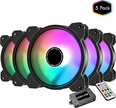 EZDIY-FAB 5 Pack-120mm Ventilador RGB LED para Estuches para PC ...