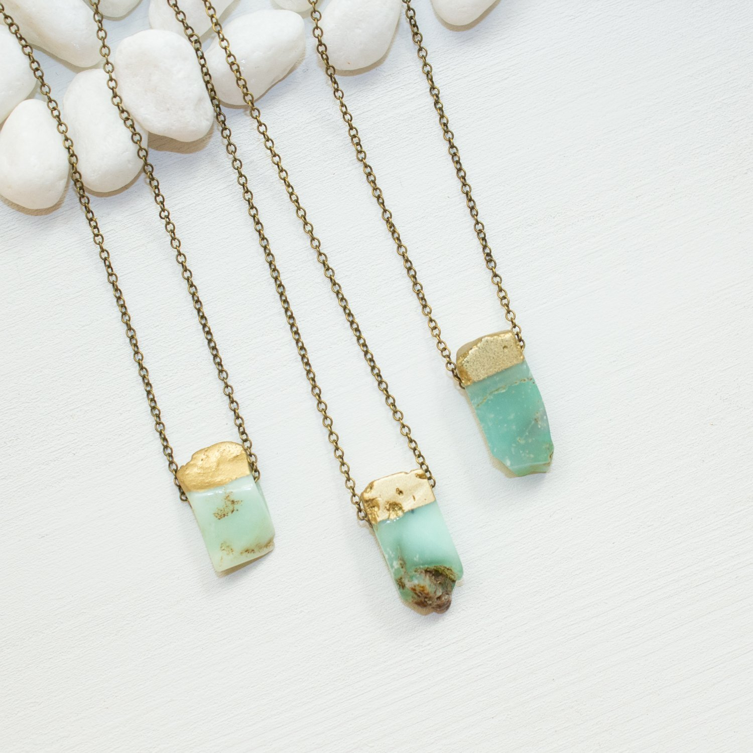 gallery yellow necklace irene lyst product with chrysoprase stones jewelry gold neuwirth