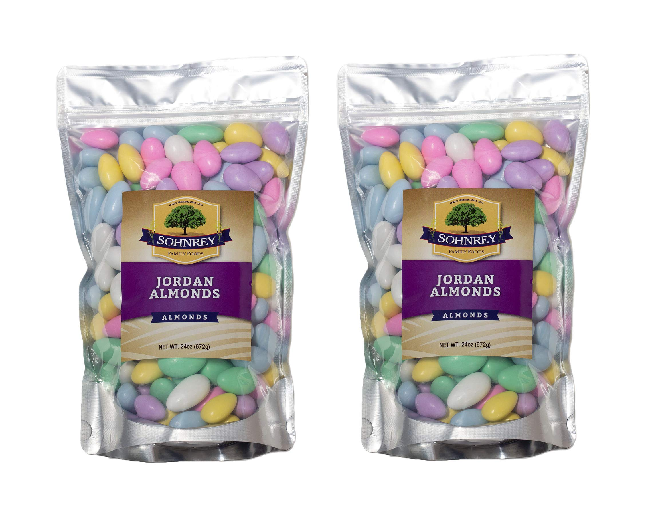 3 Pounds Jordan Almonds Wedding Holiday Party Favor Candies in Colorful Assorted Pastel Mix 2-Pack of 24 oz Pouches by Sohnrey Family Foods ... by Sohnrey Family Foods