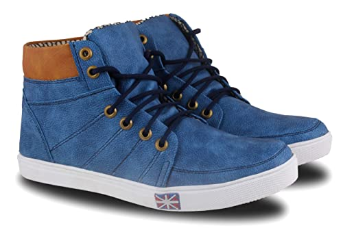 a90da523ba89ce FABBMATE Denim Look High Ankle Blue Casual Canvas Sneakers Shoes for Men:  Buy Online at Low Prices in India - Amazon.in