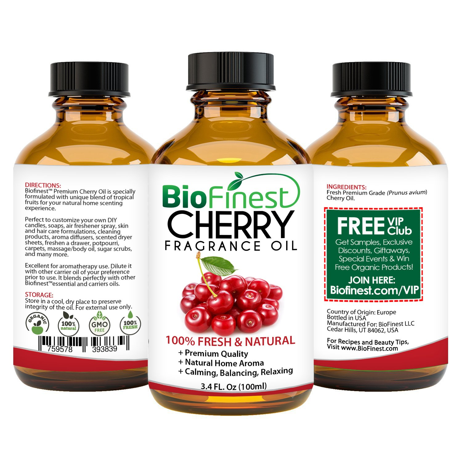 BioFinest Cherry Fragrance Oil - 100% Pure Natural Fruit - Home  Aromatherapy, Essential Oil Diffuser, Air