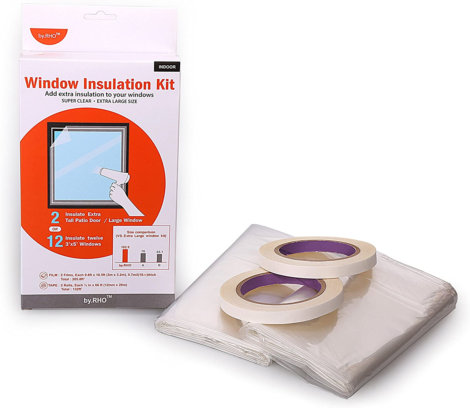 """12 Windows or 2 Patio Doors Window Insulation Kit. Super Large Size.(118""""x126"""") by.RHO. Insulator kit. 9.8FT x 10.5FT x 2sheets Heat Shrink Cling Film, 2X 66ft Tape. Good Quality Shrink Film"""