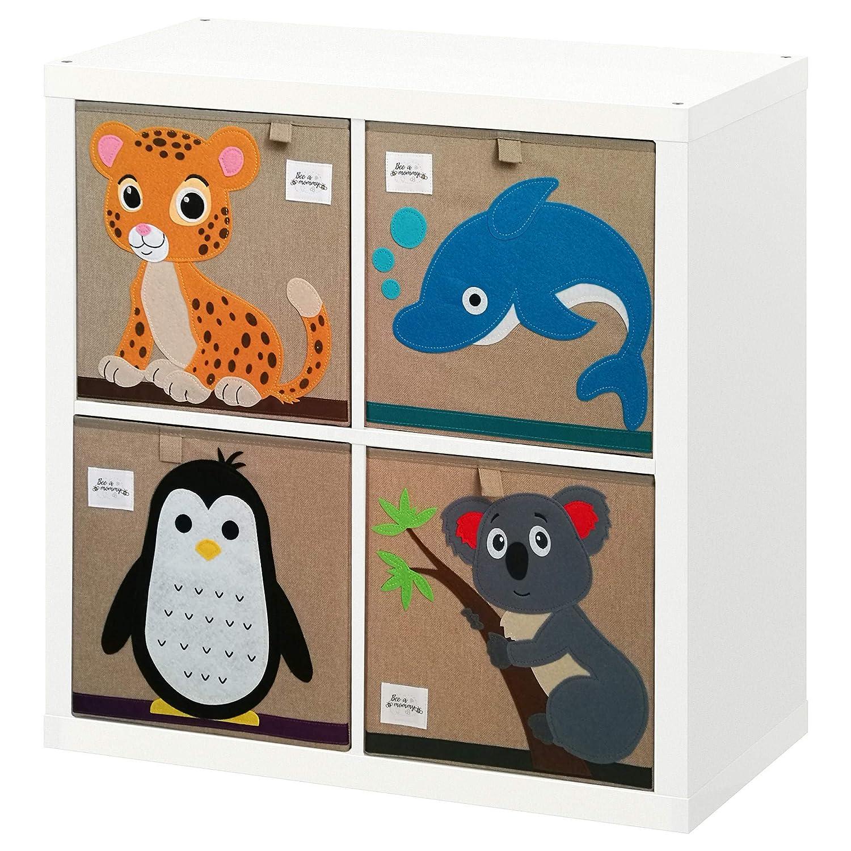 Aufbewahrungsbox Kinder mit tollen Tiermotiven 4er Set f/ürs Kinderzimmer