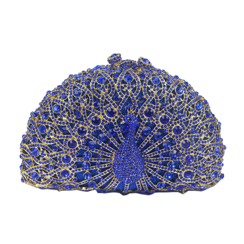 Aisunne Luxury Crystal Clutches Womens Evening Handbag Peacock Clutch Bags Purse Wedding Cocktail Party Handbags (Blue)