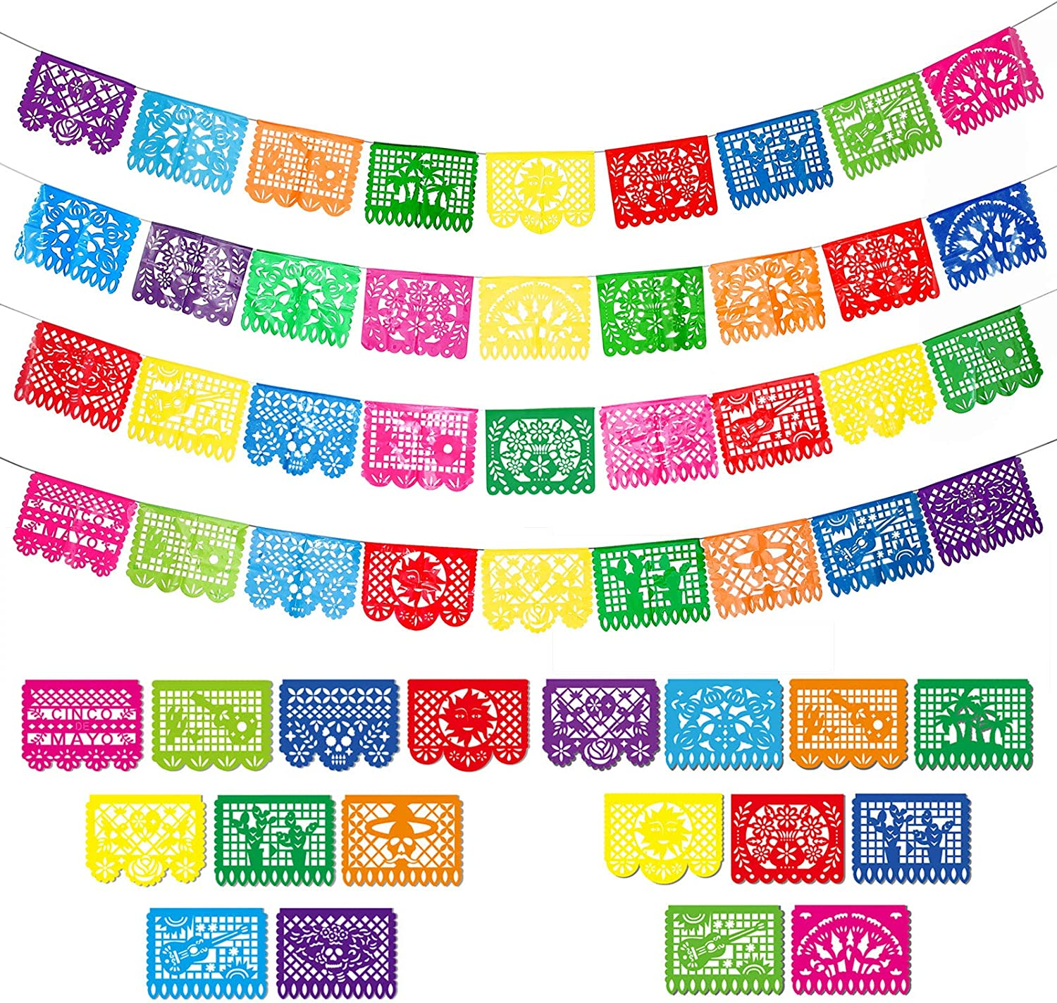 4 Packs Mexican Party Banners Large Plastic Papel Picado Banner Fiesta Plastic Banners, 4 Different Designs, 60 Feet Long Totally